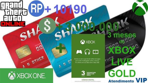 Promoção! Live Gold 3 Meses + 3 Milhões Gta$ Xbox One