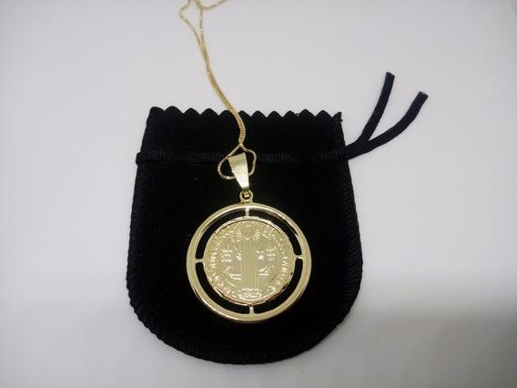 Corrente Veneziana Com Medalhão De São Bento Banhada