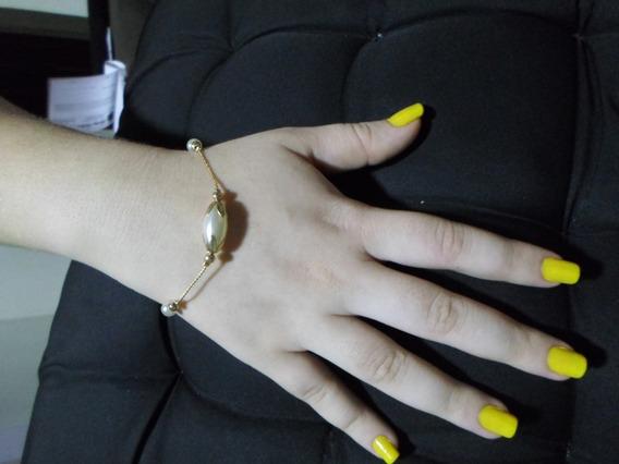 Tornozeleira Ou Pulseira 2/em/1 Banhada Em Amarelo Ouro