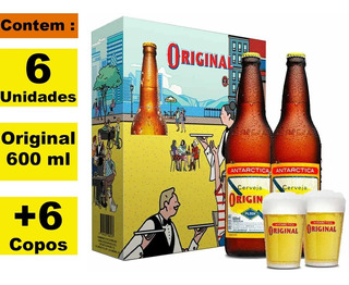 Kit Cervejeiro 6 Original 600ml + 6 Copos C/embalagem