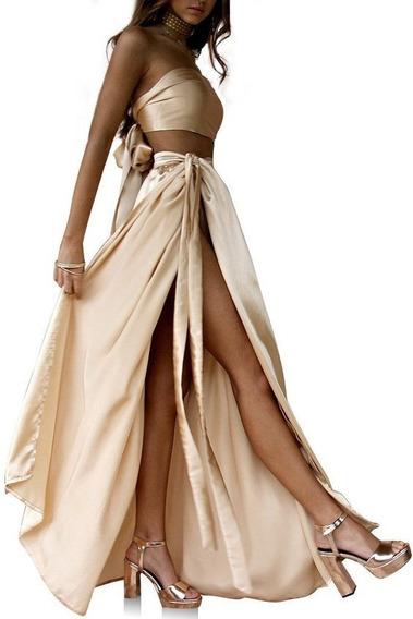 Vestido De Fiesta Largo Lazo En Falda Y En El Crop Top