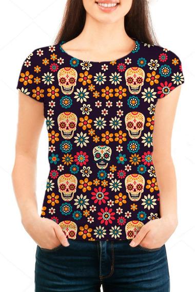 Camiseta Babylook Feminina Caveira Mexicana - Mn02