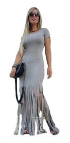 Roupas Femininas Vestido Longo Panicat Importado Franja 2700