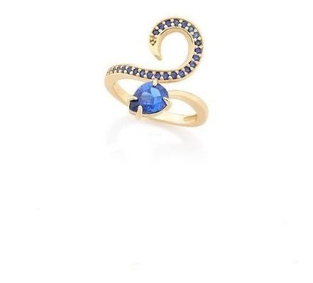 Anel Rommanel Com Zircônias Azul Safira E Gota 512205
