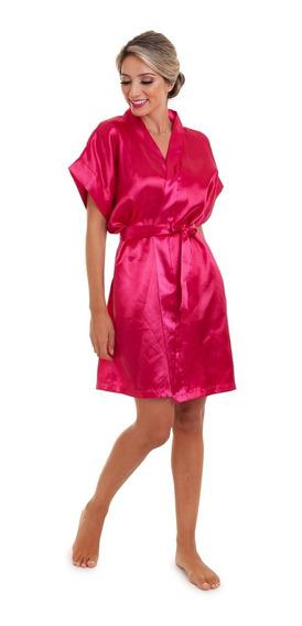Robe De Cetim Rosa Pink Liso Sem Bordado Pronta Entrega Full