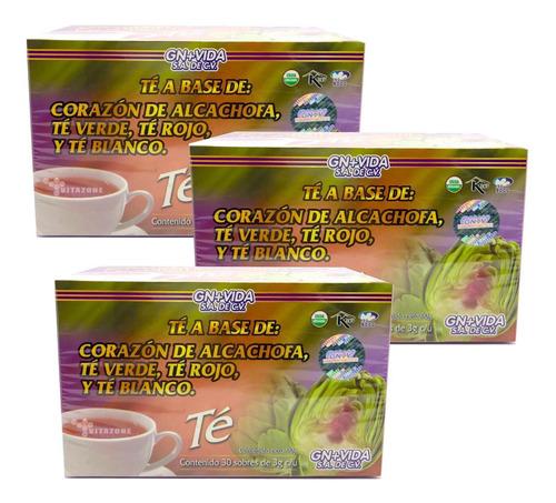 Imagen 1 de 4 de Té Alcachofa 30 Sobres Gn+v 3 Cajas.
