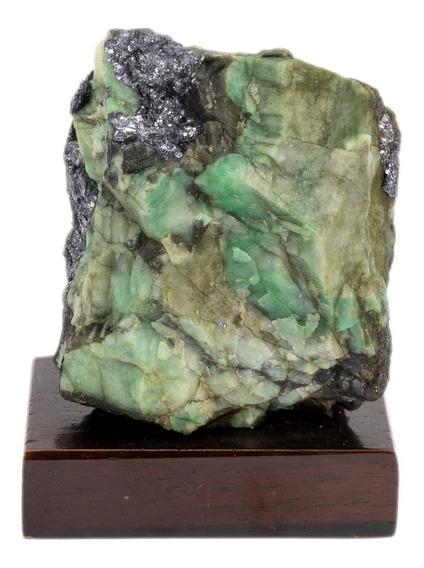 Pedra Esmeralda Natural Na Base De Madeira