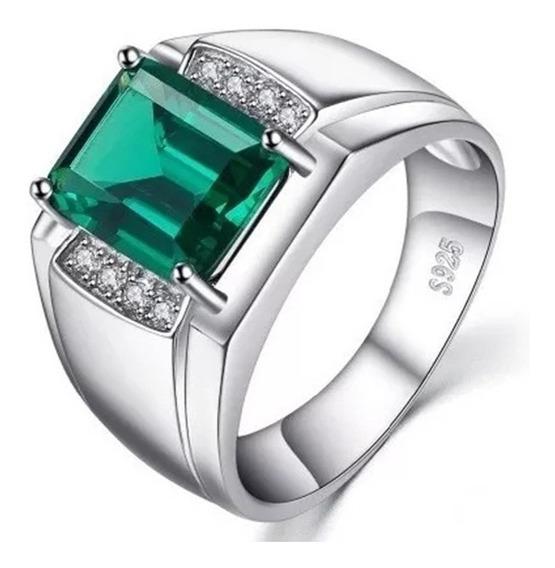 Anel Masculino Prata 925 Elegante Pedra Esmeralda Verde