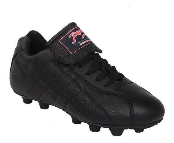 Zapato Futbol Soccer Pepesa Forza Black Piel Tierra