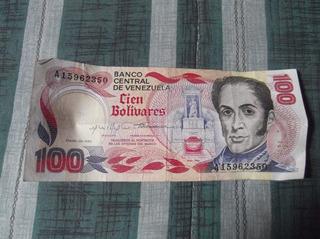 Billete Antiguo De 100 Bolivares En Optimo Estado De 1980