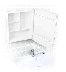 Armário Branco Com Espelho Para Banheiro Dual