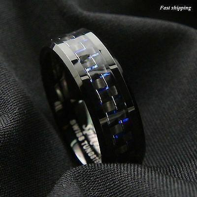 Size 13 - Joyas De 8mm Negro Tungsteno Anillo Negro Azu-6457