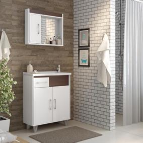 Gabinete Para Banheiro Com Pés Espelheira- Branco/sheffíeld