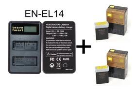 Kit 2 Bateria Nikon En-el14 + 1 Carregador Duplo D3100 D3200