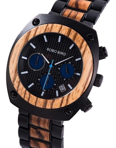 Relógio Bobo Bird Madeira/aço Inox Analógico T082 Azul