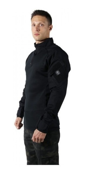 Combat Shirt Camuflado Preta Treme Terra Airsoft Steel