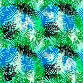 Tecido Impermeável Acqua Linea Palm Azul 1m X 1,40m