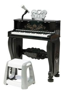 Piano Clásico 63cm Micrófono Silla 37 Teclas Ref.mx004