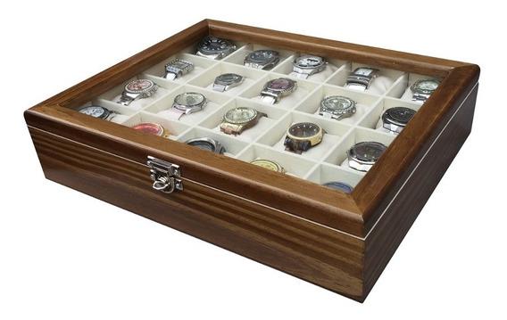 Estojo/caixa Para 20 Relógios - Cerejeira Flocado De Bege
