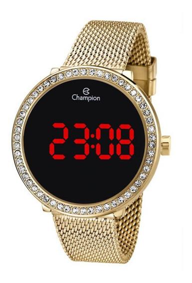 Relógio Feminino Dourado Champion Digital Led Com Pedras+nf