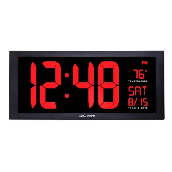Reloj Digital De Pared Led Termometro 45 Cm Envío Gratis
