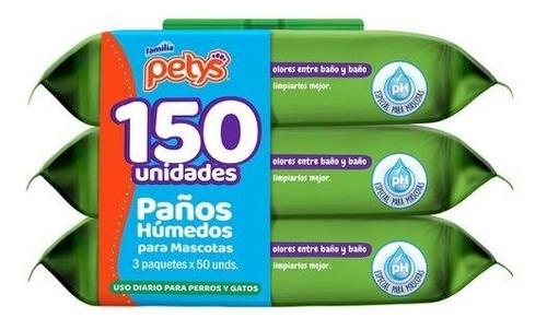 Petys Paños Húmedos Mascotas 3 Paquetes / 50 Unidades