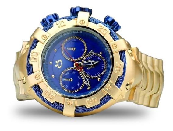 Relógio Masculino Aço Dourado + Caixa + Garantia