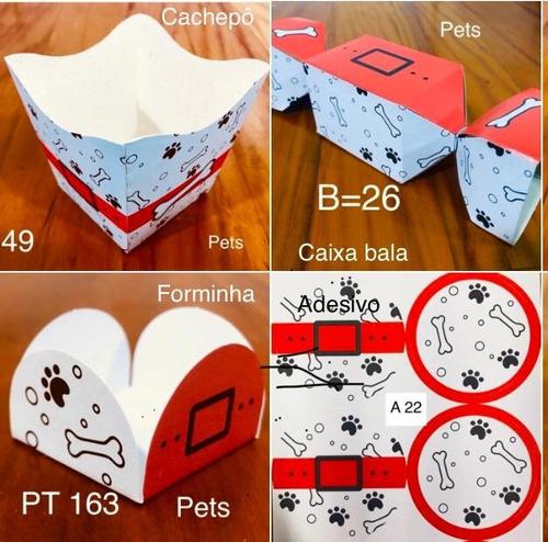 Imagem 1 de 5 de Kit 520 Peças Para Doces Festa Pets Forminhas  Cachorro Cã