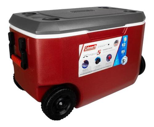Caixa Térmica Xtreme 5 62qt 58l C/ Rodas Vermelho E Cinza