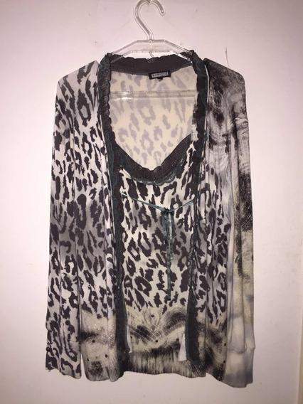 Conjunto De Camiseta Y Sweter Para Damas
