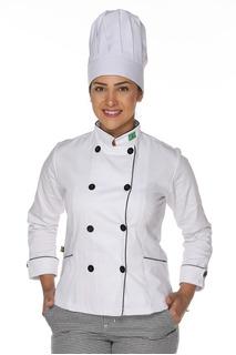 Dolmã Chef Feminino Duplo Abotoamento Com Bandeira.