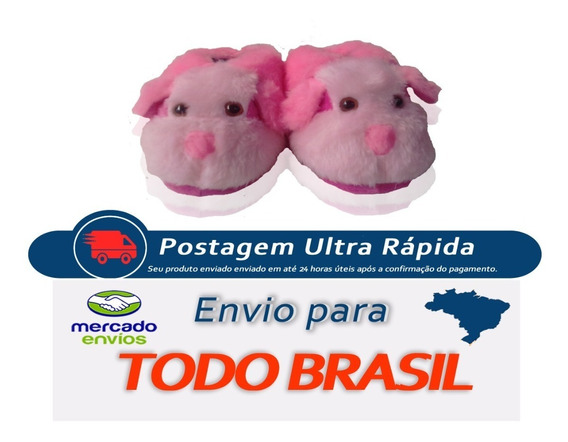 Cachorro Rosa Calçado Pantufa Oferta Infantil Adulto Barato