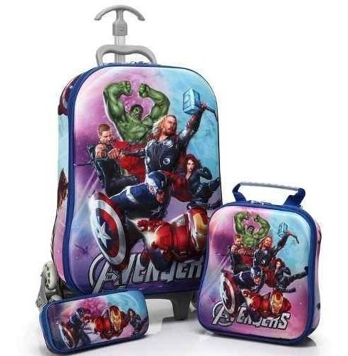 Mochila De Rodinhas Vingadores 3d - Kit Escolar Avengers