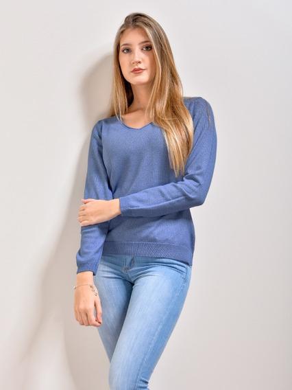 Sweater Liviano Suave Mujer Escote En V Saco - Kierouno