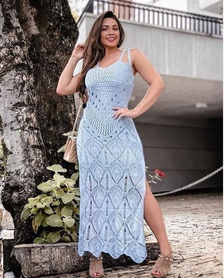 Vestido Longo Trico 4 Alças Reveillon Fenda Tricot Renda Ano Novo Festa Casamento Madrinha Roupas Femininas