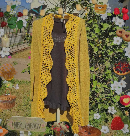 Saco Largo En Lanilla Con Detalles De Tejido En Crochet