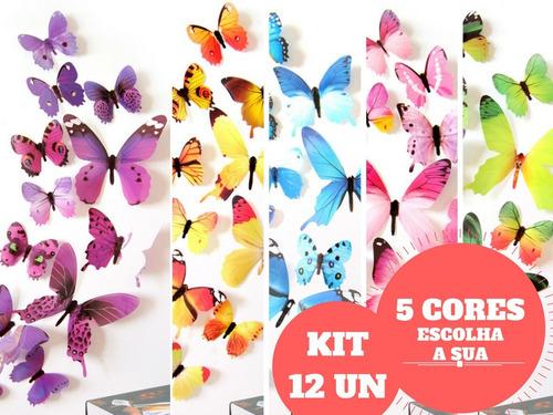Imagem 1 de 2 de Adesivo Parede Borboleta 3d Kit 12un Decoração Cores