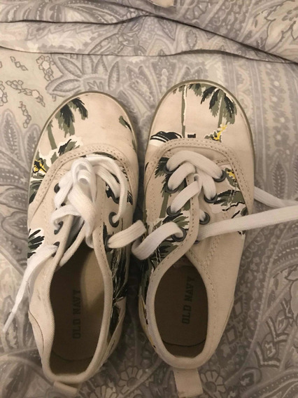 Zapatillas Con Cordones Old Navy Floreadas Talle 26 O 10 Us