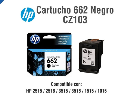 Hp Cartucho De Tinta 662 Negro (cz103al)