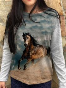 7b7ba58c22 Blusa Feminina Moletinho Cavalo Na Neblina Mundo Country