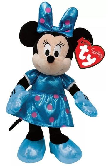 Pelúcia Ty Beanie Babies 20 Cm Minnie Vestido Azul