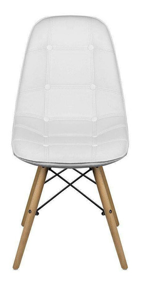 Cadeira Eames Eiffel Botonê Fixa Pés Madeira - Branca