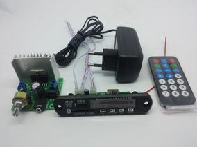 Placa Amplificador 30w + Fonte + Leitor De Usb Bluetooth
