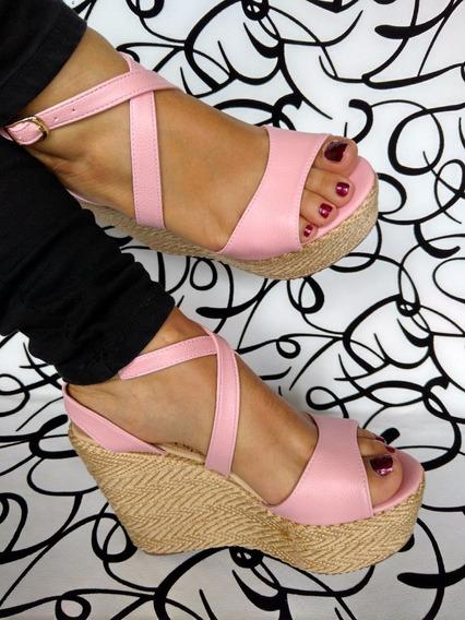 Zapatos Elegantes Altos Plataforma Rosada Moda Envío Gratis