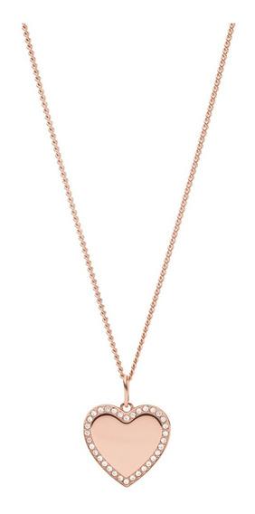 Collar Dama Fossil Be Mine Jf03362791 Color Oro Rosa Acero