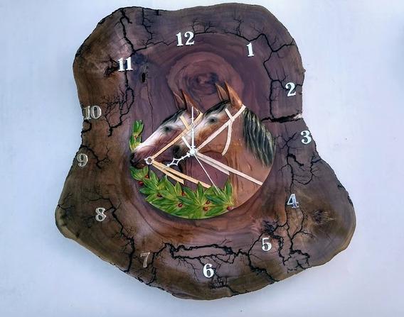 Relógio Parede Grande 44x45 Madeira Rústico Peça Única
