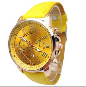 Relógio Luxo Com Pulseira De Couro Amarelo