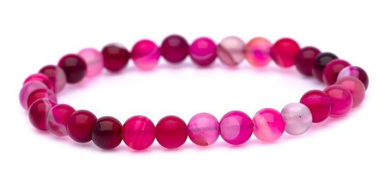 Pulseira Bracelete Ogrife J-659 Pedra Ágata Pink Natural