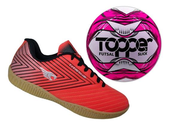 Tênis Futsal Couro E Solado Costurado