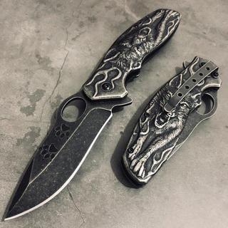 Canivete Semi Automático Alto Relevo Lobo Aço Clip Trava-nfe